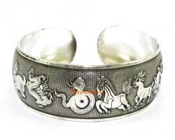 Chinese 12 Zodiac Animals Cuff Bracelet