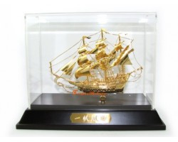 24k Gold Plated Hand-crafted Exquisite Wealth Ship 30gp