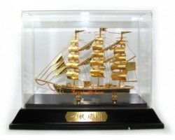 24k Gold Plated Hand-crafted Exquisite Wealth Ship 34gp