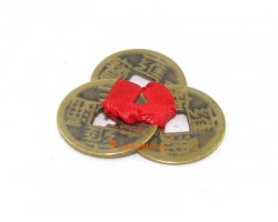 3 Brass Coins knotted with Red Ribbon (Set of 3)