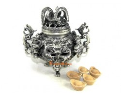 White Brass Nine Dragon Incense Burner