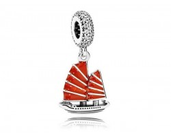 925 Silver Chinese Wealth Ship Red Enamel Dangle Bead Charm