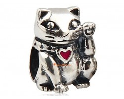 925 Silver Fortune Cat Bead Charm
