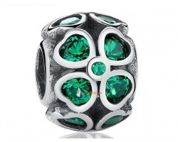 925 Silver Lucky 4-Leaf Clover Charm Bead with Green Rhinestones