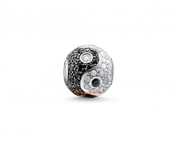 925 Sterling Silver Bejeweled Feng Shui Yin Yang Ball Charm Bead