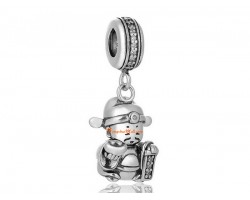 925 Sterling Silver God of Wealth Bead Charm with Rhinestone