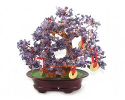 Amethyst Crystal Bonsai Tree with 9 Coins