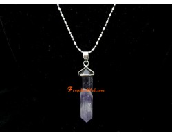 Amethyst Crystal Point Pendant with Stainless Steel Necklace (L)