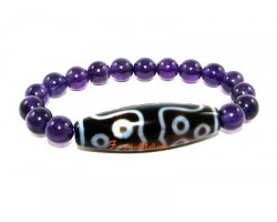 Tibetan Dzi Bead of Your Choice with Amethyst Bracelet