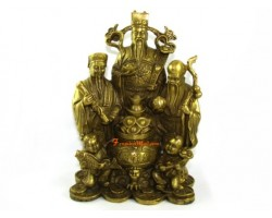 Auspicious Brass Fuk Luk Sau with Wealth Pot and Kids