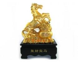 Auspicious Golden Horse with Wealth Pot (L)