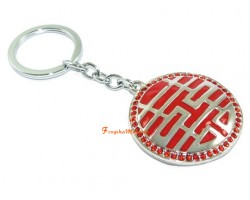 Bejeweled Double Happiness Keychain for Love Luck