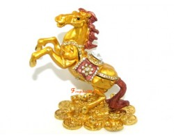 Bejeweled Golden Rearing Horse on Bed of Coins