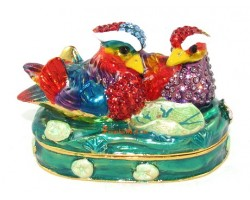 Wishfulfilling Bejeweled Pair of Mandarin Ducks