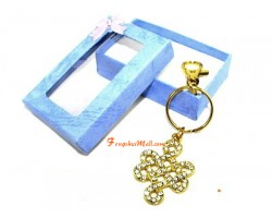 Bejeweled Mystic Knot Lucky Charm Keychain (clear)