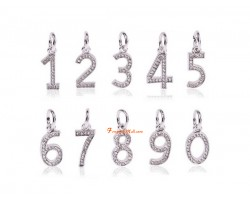 Bejeweled Silver Plated 0 to 9 Lucky Number Dangle Pendant Charm