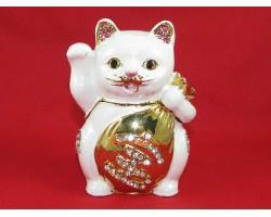 Bejeweled Wishfulfilling Fortune Cat (White)