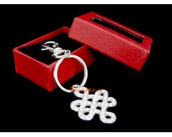 Bejeweled Mystic Knot Lucky Charm Keychain (silver, clear)