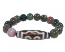 Tibetan Dzi Bead of Your Choice with Bloodstone Bracelet