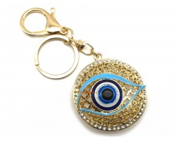 Blue Evil Eye Anti-Jealousy Golden Key Ring