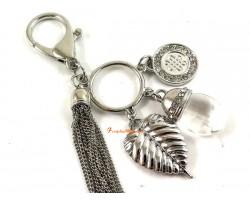 Bodhi Leaf Keychain with Crystal