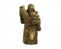 Brass Chinese Wealth God Holding Scroll