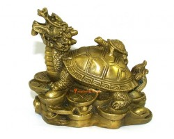 Brass Feng Shui Dragon Tortoise with Children