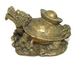 Brass Dragon Tortoise with Ingot