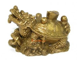 Brass Dragon Tortoise with Ingot and Pearls