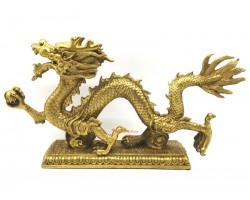 Brass Feng Shui Dragon Grasping Ball (XL)