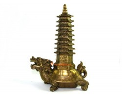 Brass Feng Shui Pagoda on Tortoise