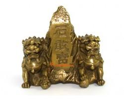 Brass Fu Dogs with Shi Gan Dang Mountain