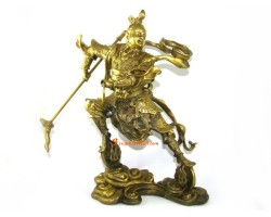 Brass Na Zha Statue (L) - Marshal of the Central Altar