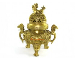 Exquisite Nine Dragon Brass Incense Burner with Pi Yao