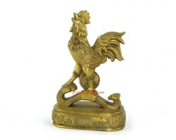 Brass Rooster on Ru Yi with Coin