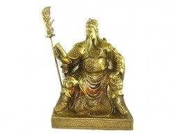 Brass Sitting Kwan Kung of Wisdom Reading Book (L)