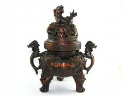 Exquisite Nine Dragon Bronze Incense Burner with Pi Yao