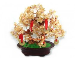 Citrine Crystal Tree with 9 Coins