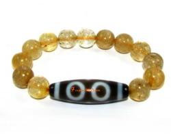Tibetan Dzi Bead of Your Choice with Citrine Bracelet