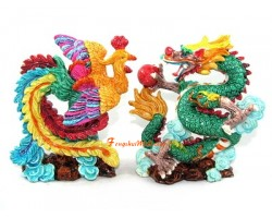 Colorful Pair of Dragon and Phoenix