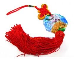 Liuli Temple Lion Biting Swords Tassel (Colorful)