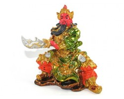 Colorful Seated Guan Gong Statue with Knife