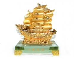 Golden Double Dragon Wealth Ship for Prosperity