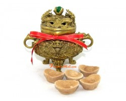 Dragon Incense Burner with Green Crystal Ball