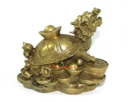 Brass Dragon Headed Tortoise with Gold Ingot (m)