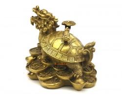 Brass Dragon Headed Tortoise with Ruyi (m)