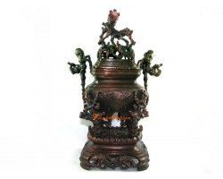 Exquisite Brass Incense Burner with Bamboo Tree Motif