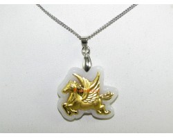Exquisite Golden Flying Horse on Grade A Jade Pendant