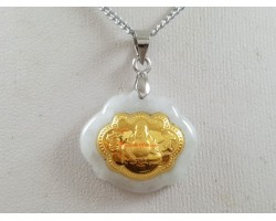 Exquisite Golden Laughing Buddha on Grade A Jade Pendant