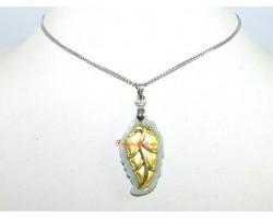 Exquisite Golden Leaf on Grade A Jade Pendant